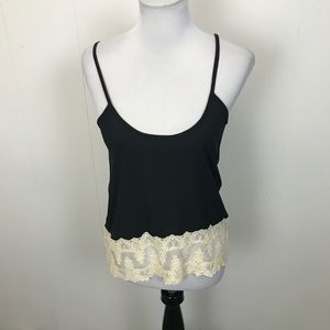 Vilo Couture Black Camisole With Ivory Lace